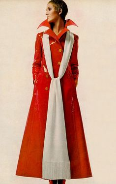 Julie Driscoll by Richard Avedon, 1969 60s 70s long coat orange white color photo print ad model magazine