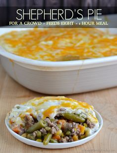 Shepherd's Pie Recipe for a Crowd  Gruyere cheese instead, cube beef for stew, frozen veggies, blue or reg small potatoes