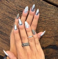 hrome, marble and Matt almond CND acrylic nails. Almond Acrylic Nails, Almond Nails, Acrylic Nail Designs, Nail Art Designs, Chrome Nails Designs, Acryl Nails, Super Nails, Gorgeous Nails, Trendy Nails