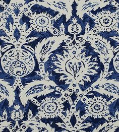 A loosely painted version of a regal ottoman damask has the scale and drama of the original but has the soft usability of a more contemporary fabric. Jim Thompson Fabric, Drapery Fabric, Curtains, Contemporary Fabric, Pattern Matching, Home Wallpaper, Home Decor Fabric, Damask, Interior And Exterior