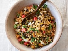 Quinoa with Black Beans, Tomatoes, Corn, and feta