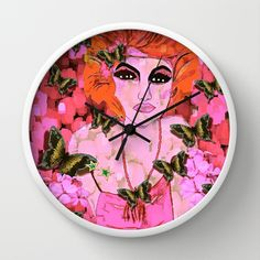 Beauty with Pink Flowers and Butterflies #2 Vintage Wall Clock by Myles Art and Design Studio - $30.00