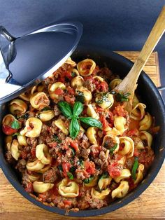 Easy Cheese Tortellini with Meat Sauce