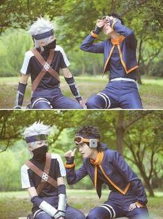 Obito and Kakashi    Naruto Gente, que legal! Isso sempre me faz pensar sobre um filme live action de Naruto... Mas tenho medo que estraguem a história com uma má produção XD