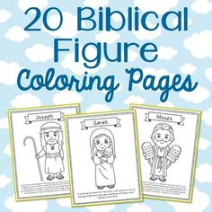 Set of 20 Historical Figure Coloring Pages or Posters with Bible Verses. Great for Sunday school, private school, Vacation Bible School, and memory verse work. The figures included in this bundle: Abel, Abraham, Adam, Cain, David, Deborah, Elijah, Eve, Gideon, Jesus, Job, Joseph, Martha, Mary, Moses, Noah, Paul, Peter, Samson, and Sarah.