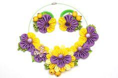Kanzashi necklace. Yellow purple kanzashi fabric flower necklace. Purple necklace. Floral necklace. mother and daughter set. Ponytail