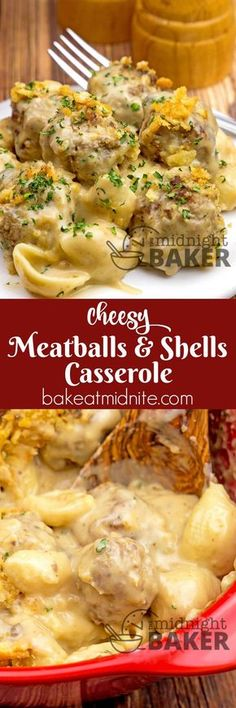 Cheesy Meatballs and Shells Casserole ~ pasta cooked in a creamy cheesy beefy sauce...total comfort food!