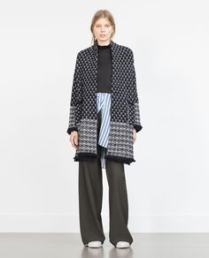 ZARA - FRIDAY 27TH | 20% OFF - JACQUARD COAT WITH A FRAYED HEM