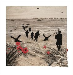 Poppies And Pipes - Limited Edition by Jacqueline Hurley D-Day Landings Normandy Beaches Western Front WW2 Lord Lovat's piper 'Piper Bill'