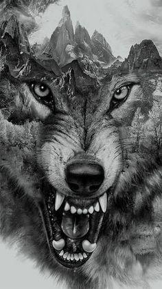 Wolf Collage for t-shirt printing by Eddie Yau, via Behance