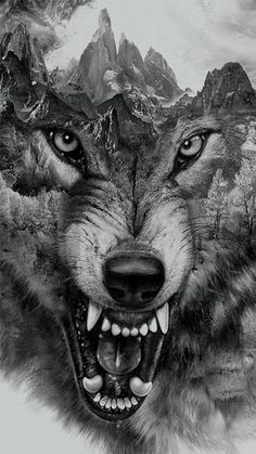 Wolf Collage for t-shirt printing by Eddie Yau, via Behance