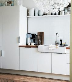 Be creative with storage – a long shelf is great for storing and displaying things | Stylist Hans Blomquist's kitchen, Paris