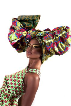 """The campaign by textile design company Printex Ghana to showcase their 2016 designs is called """"A Duku Crowns"""". The campaign is stunning! The head-wraps are creative and gorgeous. Every crown can be used to express a different mood or attitude: """"Some duku African Beauty, African Women, African Fashion, African Style, Ankara Fashion, Mode Wax, African Head Wraps, Head Wrap Scarf, Head Scarfs"""