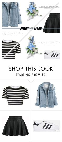 """Marine Layer: Striped Shirts"" by antemore-765 ❤ liked on Polyvore featuring Topshop, adidas Originals, H&M and stripedshirt"
