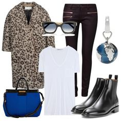 Sporty and chic in the city #Leo-look # Mantel #blau #Tasche #Booties #T-Shirt #weiß #chili #Jeans slim fit