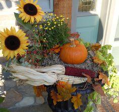 Fall porch decorations.