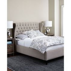 Georgette Queen Bed. . Engineered hardwood frame. Hand-tufted headboard. Upholstered in cotton/polyester with aniline-dyed leather on the outside of the wings.…