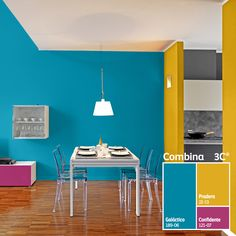 Combinaciones audaces para espacios creativos. #ColorLife Bedroom Wall Colors, Room Paint Colors, Colour Combinations Interior, Stair Railing Design, House Paint Exterior, Living Room Paint, House Colors, Colorful Interiors, Home Interior Design