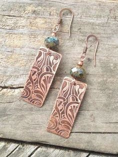 Etched Art Deco Copper Earrings with Blue Czech Glass