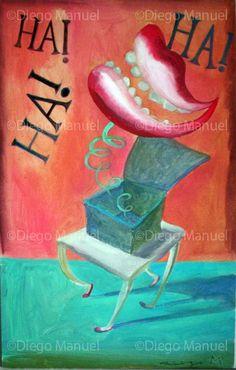 """ha! ha! ha!"", acrylic on canvas, 30 x 45 cm.  By Diego Manuel"