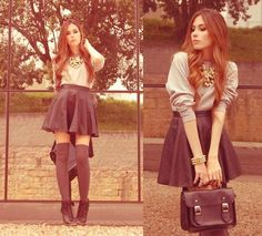 a skater skirt and a cozy sweater look perfect with high socks and lace-up ankle boots