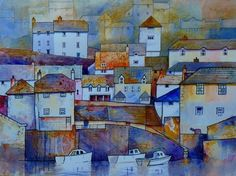 Port Isaac Cornwall by Malcolm Coils - Watercolour 14 imperial on Bockingford paper Hallway Pictures, Port Isaac, Pen And Wash, Different Forms Of Art, City Illustration, Urban Sketching, Art Challenge, Pictures To Paint, Art And Architecture