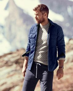 J.Crew Quilted shirt-jacket, nordic dot sweater and the slim sweatpant.