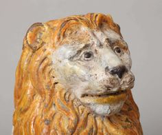 Pair of Polychromed Majolica Lion Sculptures image 5