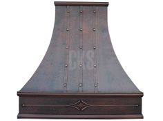 One of our most popular hoods here at Copper Kitchen Specialists. The 3 sided London is designed with  Early American crown and apron moulding and is especially striking with straps and rivets. Shown in our Antique Copper finish with a smooth body soft hammered apron. Straps and rivets are oil rubbed bronze and soft hammered.     Dimensions, color, texture are fully customizable.