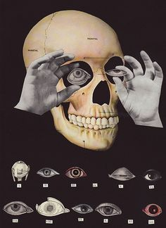"""Crafty Dogma, """"Here's Looking at You, Kid"""", Collage/Assemblage on Vintage Paper, 2009"""