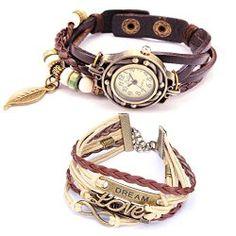 Belle Strap Weaved Beads Leather Bracelet Watch & Charm Leather Weaved Bracelet
