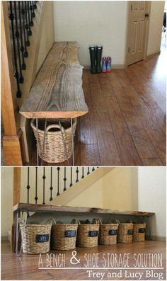 DIY Bench And Basket Storage #diyfurniture