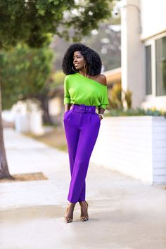 Off Shoulder Knit Top + Belted Ankle Length Pants Colour Combinations Fashion, Colour Blocking Fashion, Color Blocking Outfits, Classy Outfits, Chic Outfits, Spring Outfits, Colourful Outfits, Colorful Fashion, Purple Pants Outfit