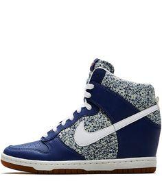 Liberty Dark Blue Anoosha Liberty Print Dunk Sky Hi Wedge Trainers - Love these Nikes!