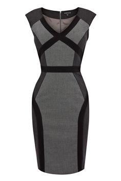 Black MULTI PANEL DRESS. | Warehouse