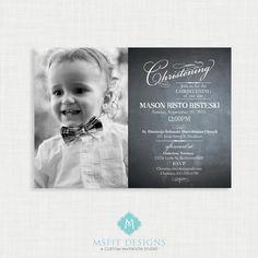 Chalkboard  Baptism Invitation- Boy Baptism Invitation - Baby Dedication, First Communion, Confirmation, Christening by MsfitDesigns on Etsy