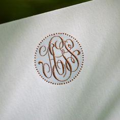 Bone White Empire Card with Plain Edge and Pearl Grey & Copper Monogram. Monogram Stationary, Monogrammed Stationery, Custom Stationery, Stationery Paper, Wedding Stationery, Wedding Invitations, Stationery Design, Monogram Design, Monogram Initials