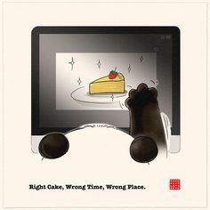 Right Cake, Wrong Time, Wrong Place Diy Calender, Cute Panda Cartoon, Origami, Panda Love, Wrong Time, Old Comics, We Bare Bears, My Spirit Animal, Cute Illustration