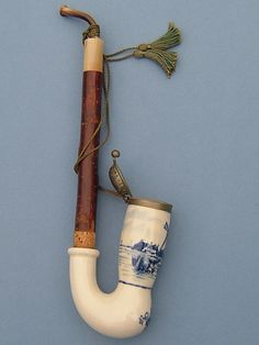 1960s Dutch Hand Painted Delft Ceramic Pipe
