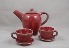 Children's Tea Set in Copper Red with 2 Cups and Saucers