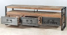 TV entertainment console with 3 drawers and 1 shelf made from steel and salvaged / reclaimed fishing boat wood for a modern / rustic / industrial look.