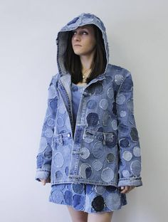 Incroyable personnalisé recyclé Denim Hooded veste Upcycled