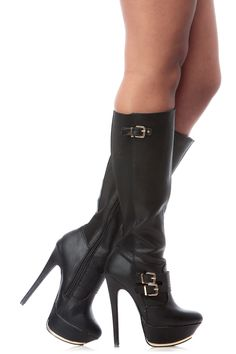 Black Faux Leather Knee High Platform Boots @ Cicihot Boots Catalog:women's winter boots,leather thigh high boots,black platform knee high boots,over the knee boots,Go Go boots,cowgirl boots,gladiator boots,womens dress boots,skirt boots.