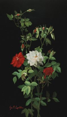 George C. Lambdin (1830-1896) Still Life With Roses 23 7/8 x 14 3/8 inches