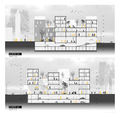 """Mauricio Silva > Galería multiprogramática en Valdivia, Chile - Galería multiprogramática en Valdivia, Chile""""> sections 01 - Social Housing Architecture, Architecture Board, School Architecture, Architecture Design, Sketches Arquitectura, Section Drawing Architecture, Planer Layout, Commercial Complex, Building Section"""