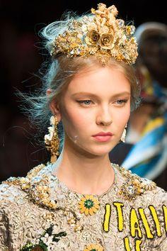 Dolce & Gabbana Spring Summer 2016 runway  #gold #tiara #crown - HarpersBAZAAR.com