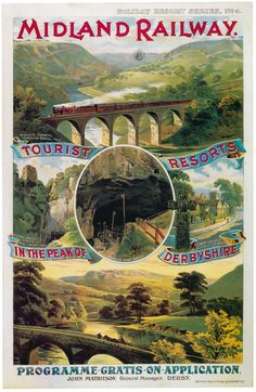 Midland Railway - Tourist Resorts in the Peak of Derbyshire. Posters Uk, Train Posters, Railway Posters, Modern Posters, Vintage Advertisements, Vintage Ads, Trains, Train Art, Vintage Metal Signs