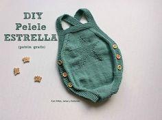 Con hilos, lanas y botones: Patrón pelele de punto para bebé Knitting For Kids, Knitting Projects, Baby Knitting, Crochet Projects, Patron Crochet, Knit Crochet, Crochet Hats, Crochet Bodies, Baby Overall