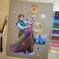 Rapunzel & Flynn (Drawing by DoughtyCreARTive 😊 😊) - Disney - Disney Character Drawings, Disney Princess Drawings, Disney Princess Art, Disney Sketches, Disney Drawings, Amazing Drawings, Cute Drawings, Amazing Art, Disney Paintings