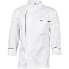 190 GSM lightweight cotton Underarm mesh vents Open front style with metal press studs Contrast (black) piping Chest pocket and LHS sleeve pen pocket Hi Vis Workwear, Workwear Trousers, Waiter Uniform, White Long Sleeve, Navy And White, Work Wear, Chef Jackets, Black Pipe, Cool Stuff